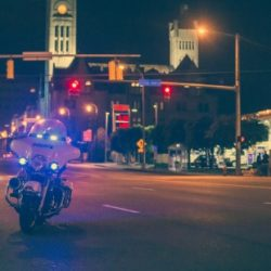 Police motorbike on the street.